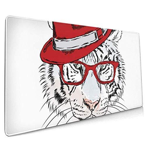 Multifunktions-Gaming-Mauspad, Computertastatur-Mauspads für Spiele - Aquarellcharakter Tiger mit Brille und Hut Hipster Circus