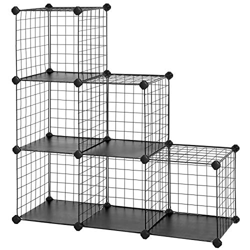 SONGMICS 6-Cube Metal Wire Storage Organizer, DIY Closet Cabinet and Modular Shelving Grids, Wire Mesh Rack, Bookcase, with Rubber Mallet,Black, ULPI111H