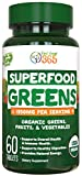 Organic Super Greens Fruit & Vegetable Tablets by Feel Great 365 – Superfood Green Juice Powder...