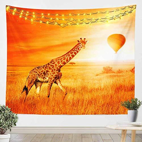 Jirafa para colgar en la pared, tapiz de puesta de sol para niños, niñas, niños, zoológico, manta de pared de animales ultra suave, manta de cama, manta amarilla mediana 128 x 152 cm