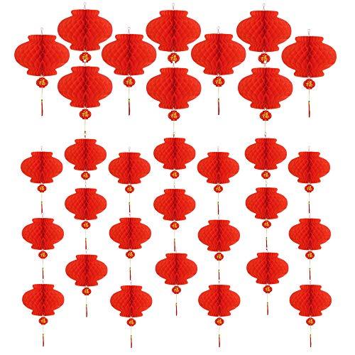 Obqo - 30 farolillos Chinos Rojos 22 cm 24 cm decoración