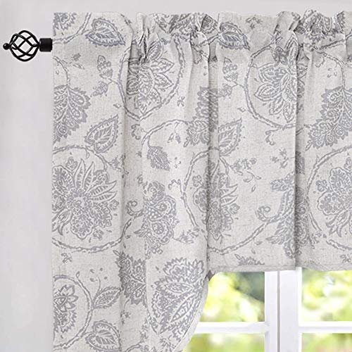 jinchan Swag Valance Grey Kitchen Window Curtain Linen Print Scroll Jacobean Floral Paisley Medallion Rustic Country Style Living Room Window Treatment 38 inch Long