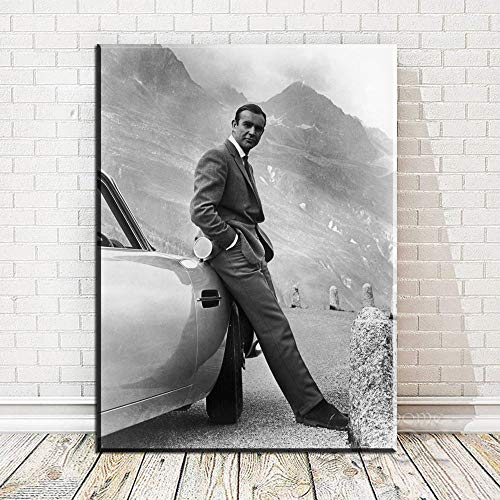 DHLHL Sean Connery. 007, James Bond Goldfinger 1964, Goldfinger Directed Movie Poster Art Print On Canvas for Wall Decoration 50x70cm Senza Cornice
