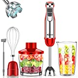 Immersion Blender Handheld, Makoloce 800W 12-Speed 5-in-1 Stick Hand Blender with 500ml Food Grinder, 600ml Container, Egg Whisk for Puree Infant Food, Smoothies, Sauces and Soups Red