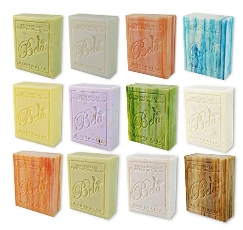 Bela Bath & Beauty, Assorted, Triple French Milled Moisturizing Soap Bars, No Harsh Ingredients, 3.5 oz each - 12 Pack