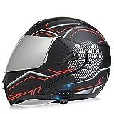 Casco Moto Modular Hombre con Bluetooth Casco de Moto de Cara Completa con Visera Antivaho Doble Frontal Abatible con Bluetooth, Casco de Carreras ECE/DOT Homologado C,M=57~58cm