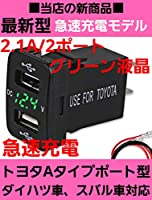 【Eight∞】トヨタ A タイプ 専用 ダイハツ 車用 電圧計付き 急速 4.2A 2連式 USB ポート グリーン 液晶
