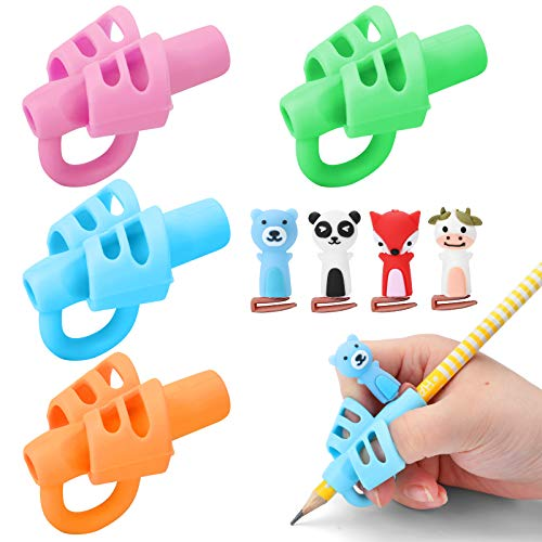 BUSHIBU Pencil Grips, Original Breakthrough Assorted Writing Training Posture Correction Finger Grip with Hollow Ventilation for Kids Preschoolers Children Handwriting(Pack of 4)