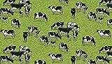 Makower Stoff mit Bauernhoftieren, MAK1222 Kühe grün, 0,5