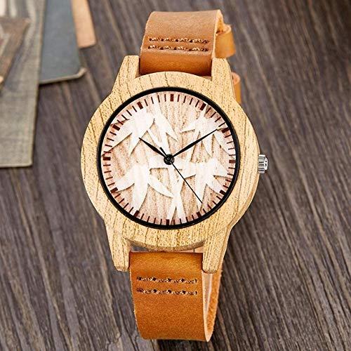 PLUIEX Reloj de madera creativo árbol de la vida imitación de madera reloj hombres mujeres cuarzo imitación imitación reloj de madera reloj de pulsera masculino W14 para mujeres