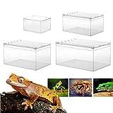 Caja transparente para reptiles, de acrílico, para cría de reptiles, para reptiles, lagarto, escorpio, ciempiés, rana, escarabajo, multitamaño, 10,3 x 8,3 x 6 cm