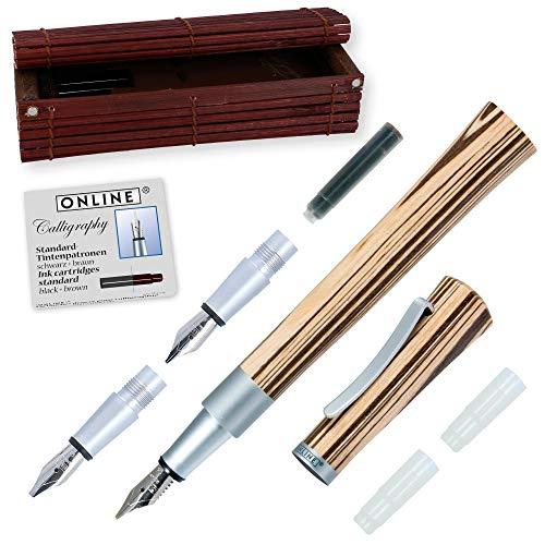 Online Newood 37713 - Pluma estilográfica de 1,4mm con 2 punteras de recambio de 0,8mm y 18mm, cartucho de tinta y caja de madera