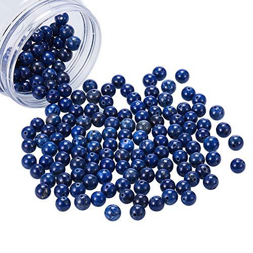NBEADS 1 Box 180 pz 8 mm Blu lapislazzuli Perline Naturale della Pietra preziosa Rotonda Sciolto Perline per Creare Gioielli