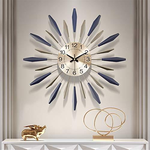 Fengfeng 3D Metall Wanduhr, Sunburst Decor Silent Uhren, großes Wohnzimmer Wanduhren Silent Non Ticking Moderne Quarzdekoration Uhr,24inch