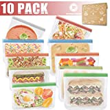 Kitchwise Reusable Sandwich Bags Resealable Food Storage Bag(Snack&Lunch Sized) Leakproof Kids Snacks Bags