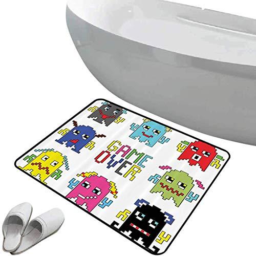 Fußmatte rutschfester Badteppich 90er Jahre Set Gummi rutschfeste Bodenmatte Pixelroboter-Emoticons mit Game-Over-Zeichen,inspiriert von lustigen 90-Zoll-Computerspielen Kunstdruck,Rot/Grün/Weiß,,Inne