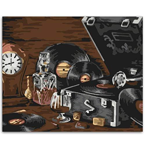 Alesx platenspeler schilderij om zelf te maken met handgeschilderde cijfers op canvas afbeelding voor foto's wand woonkamer 40x50cm Nessuna cornice 40x50cm Nessuna Cornice
