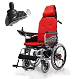 YLLN Silla de Ruedas eléctrica Ligera, con Almohada Engrosada y Manual eléctrico de Doble Modo de Viaje portátil de tránsito para Personas discapacitadas y Personas Mayores, Naranja