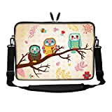 Meffort Inc 14 14.1 Inch Neoprene Laptop Sleeve Bag Carrying Case with Hidden Handle and Adjustable Shoulder Strap (Three Owls)