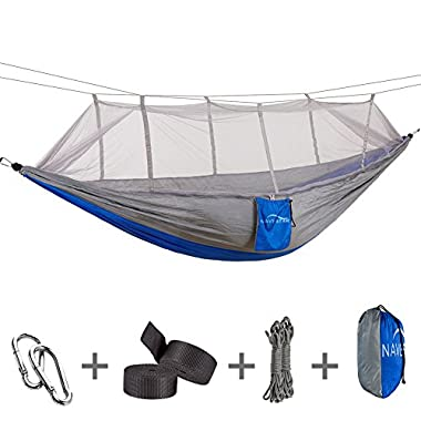 NAVESTAR Double Hammock with Bug Net, Durable Camping Hammock with Net, Comfortable & Compact for Outdoor Backpacking Hiking/Indoor Garden Yard - Gray & Navy