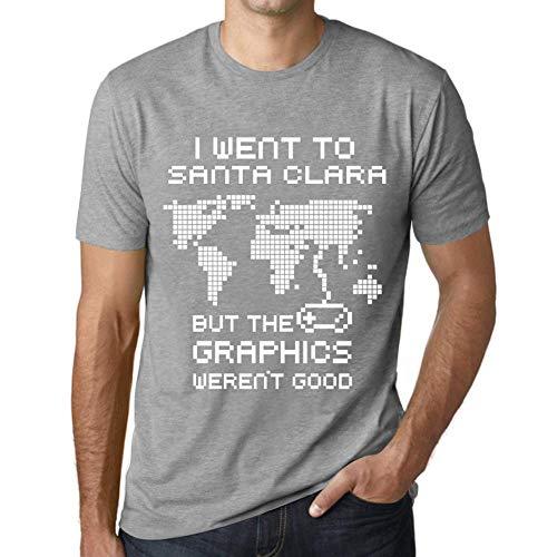 Hombre Camiseta Vintage T-Shirt Gráfico I Went To Santa Clara Gris Moteado
