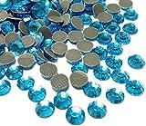 Perlin Hotfix 490 - Piedras de estrás (4 mm, SS16, 2880 unidades), color azul aguamarina, calidad AAA, para planchar