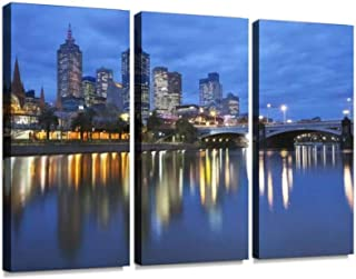 The Skyline of Melbourne, Australia with Flinders Street Station and Print On Canvas Wall Artwork Modern Photography Home Decor Unique Pattern Stretched and Framed 3 Piece
