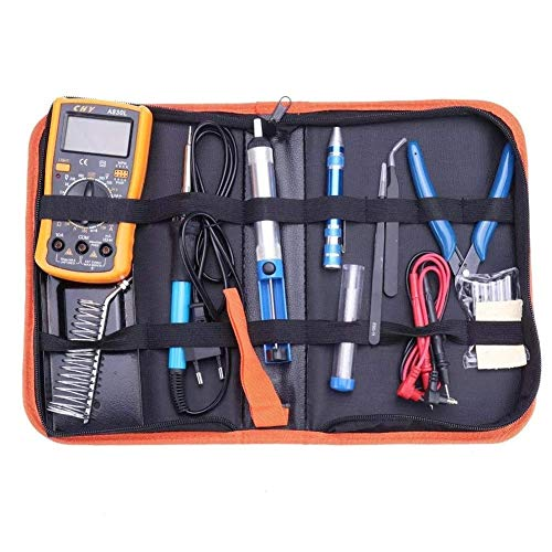 LHQ-HQ XL830L - Kit de herramientas profesional para soldar, temperatura ajustable, con 5 puntas de soldadura, destornillador de pie, alicates de corte y soldadura