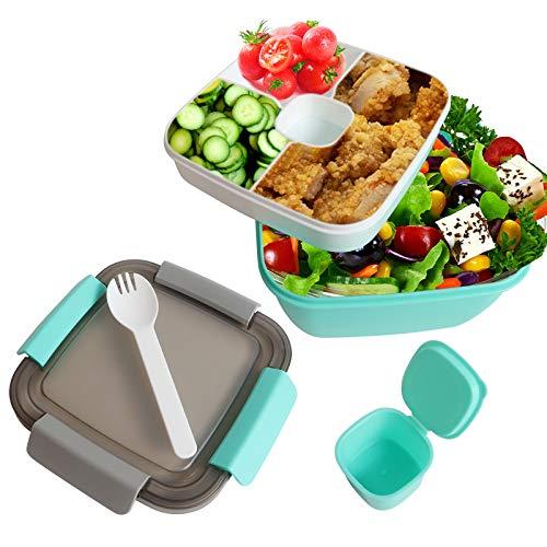 Lunchbox Auslaufsichere Bento Box Salatbehälter mit Dressingbehälter 3 Fächer Salatbox-to-go für Salat und Snacks, Vesperdose Mikrowelle Heizung für Schule/Arbeit/Picknick Reisen(Grün)