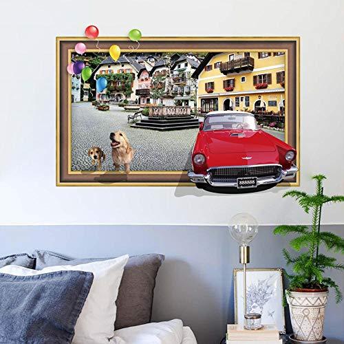 TJJF Vivid 3D Car decora la habitación de los niños Dormitorio con Diy Cartoon Wall Painting Artist Home Decals a través de marco de imagen Pegatinas de pared