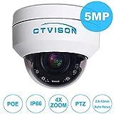 CTVISON PoE PTZ Camera 5.0MP Auto-Focus Security IP Camera 4X