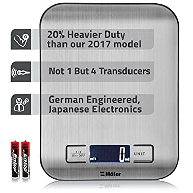 Maier Premium Heavy Duty Quad Transducer Digital Weight Touch Sensitive Kitchen/Lab Scale With Multi-Function Back-Lit LCD Display, Stainless Steel, 11 Pound Capacity (Batteries Included)