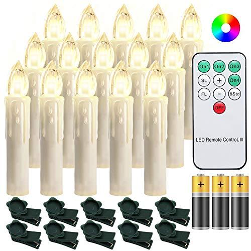 Hengda 30er LED Weihnachtskerzen Dimmbar Kerzen Lichterkette mit Batterien Beleuchtung RGB Bunt Weihnachtsbaumkerzen Flammenlose Kerzenlichter für Weihnachtsdeko