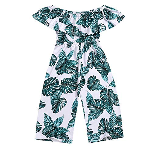 Baby Girls Off Shoulder Romper, Toddler Leaf Jumpsuit Bodysuit Summer Pants Clothes Outfits (Green, 2-3 Years)
