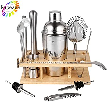 Rapesee 14 Pieces Cocktail Shaker Set Bartender Kit Bar Tools Barware, Stainless Steel Cocktail Mixer Set, Professional Cocktail Making Kit