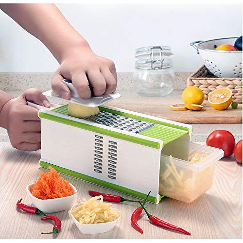DW007 Gemüsehobel Vielseitiger Gemüseschneider Kartoffelschneider Obstschneider Handschutz Frischhaltedose Schneider Für Tomaten Zwiebeln Käse Gurken
