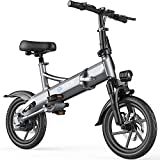 G-Force Electric Bike G14,14'' Folding chainless Electric Bikes for Adults,400W Motor,Max Speed 20MPH Ebike with Removable Battery(48V 10.4A),Max Range 30Miles.
