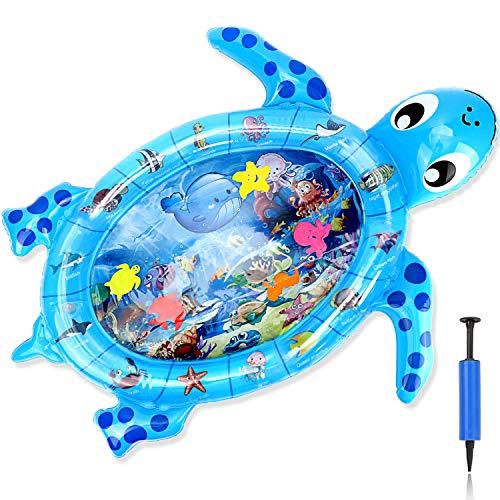 Aufblasbare Schildkrötenförmig Wassermatte Säuglinge und Kleinkinder Wasserspielmatte, 37.8x31.5In Baby Aquarium Matte ab 3 6 9 12 Monate Spaßaktivitäten Das Stimulationswachstum Ihres Baby mit Pumpe