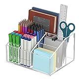 HIIMIEI Soporte para bolígrafos de acrílico transparente para el hogar, la oficina y la escuela, 7 compartimentos, almacenamiento de accesorios de escritorio