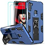 LeYi Compatible with Samsung A11 Case, Samsung Galaxy A11 Case with Tempered Glass Screen Protector [2Pack], Military-Grade Shockproof Built-in Kickstand Car Mount Phone Case for Galaxy A11, Blue