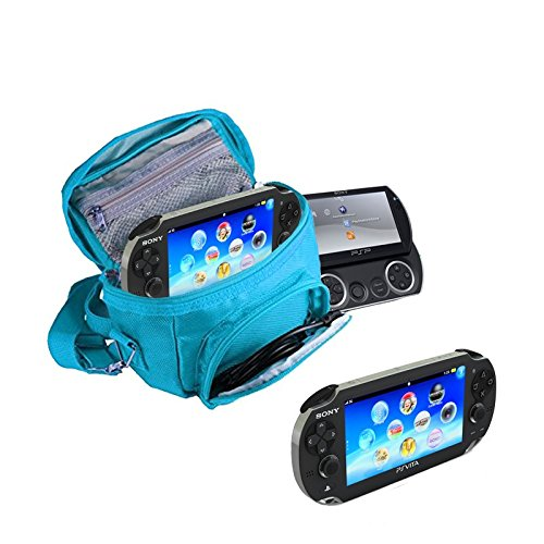 Orzly - Game & Console Travel Bag for Sony PSP Consoles (GO/VITA/1000/2000/3000) Has Special Compartments for Games & Accessories. Bag Includes Shoulder Strap + Carry Handle + Belt Loop - Blue