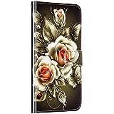 Saceebe Compatible avec Samsung Galaxy M10 / A10 Coque Cuir Étui Wallet Housse 3D Imprimé Animaux Motif Portefeuille Coque avec Support Magnétique Pochette Antichoc Rabat Coque,Fleur Rose