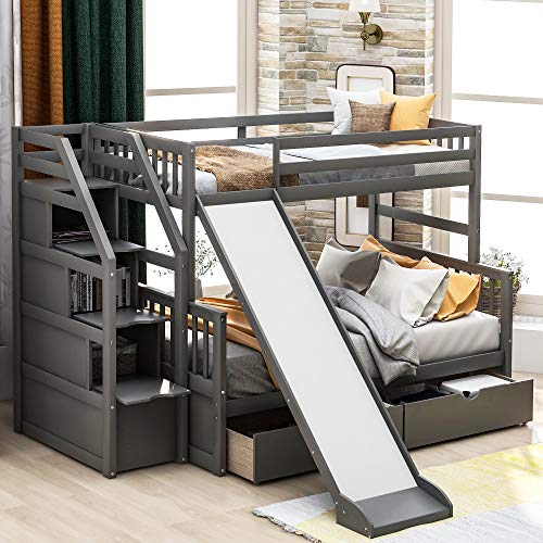 Twin Over Full Bunk Beds, Storage Low Bunk Beds with Slide and Staircase, No Box Spring Needed (Low Bunk Beds Twin Over Full Grey)