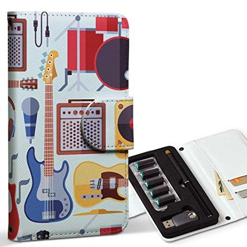 スマコレ ploom TECH プルームテック 専用 レザーケース 手帳型 タバコ ケース カバー 合皮 ケース カバー 収納 プルームケース デザイン 革 ギター 音楽 かっこいい 012037