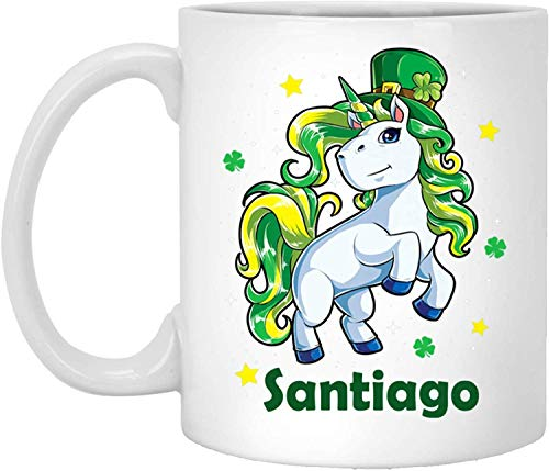 Taza de té, color blanco, taza de Santiago Tazas Santiago de Unicornio Nombre Personalizado Blanco 325 ml taza de café unicornio trébol Día de San Patricio