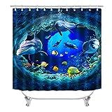 Delphin Duschvorhang für Badezimmer, niedliches 3D-Meereswelt-Duschvorhang-Set für Kinder, blaue Ozeanwelt, Fische, Badezimmer-Dekor-Set mit Haken, 183 x 183 cm (S5)