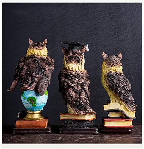 Productos para el hogar Feliz decoración del hogar búho de Resina Sala de Estar Mueble de TV Estatua Decorativa símbolo de Inteligencia y sabiduría marrón-marrón