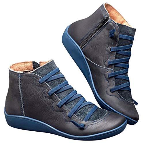 WUSIKY Stiefeletten Damen Casual Flache Leder Retro Schnürstiefel Seitlicher Reißverschluss Runde Stiefel Boots Kappe Schuhstiefel (42 EU, Blau)