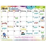 Magnetic Calendar for Refrigerator - White Board Magnetic Calendar for Refrigerator Wall Home Kitchen Decor, 15'x 11.5', Grocery List Magnet Pad for Fridge - Splash Ink