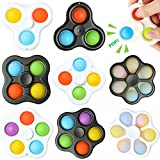 HIFEILI&SKY Simple Dimple Fidget Spinner Toys for Kids 8 Pack, ADHD Anxiety Stress Relief Sensory Fidget Toys for Autistic Children Adults, Push Pop Bubble Girls Boys Autism Hand Spinners Toys